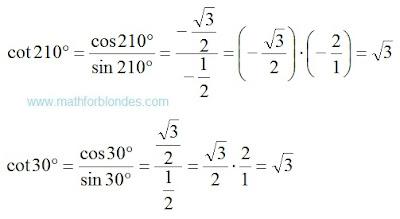 Cotangent 210 degrees. Cotangent 30 degrees. Mathematics For Blondes.