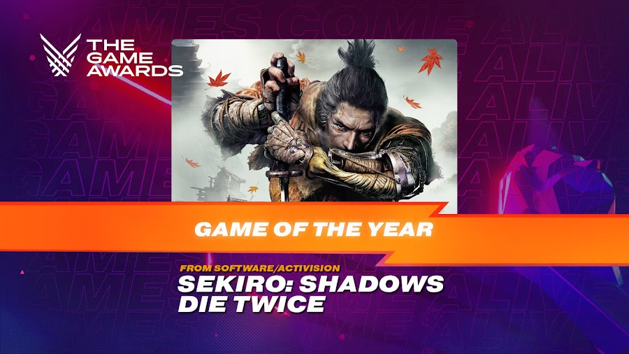 sekiro shadows die twice game of the year the game awards 2019 from software activision