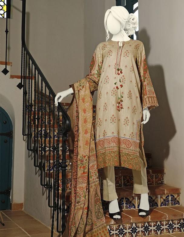 J. Juanid Jamshed winter unstitched collrction beige printed khaddar shirt with pashmina shawl