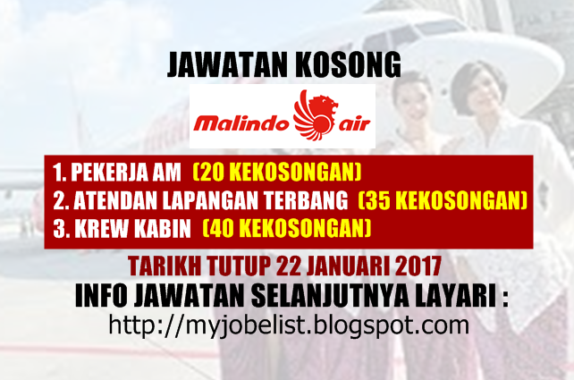 Jawatan Kosong di Malindo Airways Sdn Bhd Januari 2017