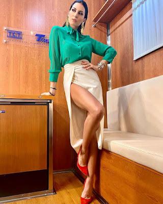 Elisabetta Gregoraci Gfvip abbigliamento camicia verde Genny official