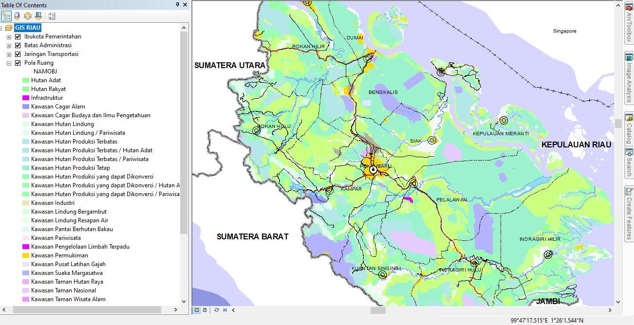 SHP Shapefile Peta RTRW Pola Ruang Provinsi Riau 2018