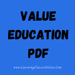 Value Education PDF download free in English Medium Language for B.Ed and all courses students, college, universities, and teachers