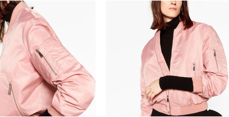 Rosa-glänzende Bomberjacke von Zara