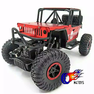 Mobil RC OFFROAD JEEP ARMY 4WD Merah