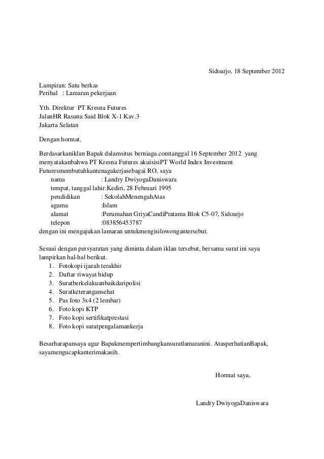 Contoh Surat Lamaran Kerja Di Pt Sai Mojokerto Bagikan Contoh