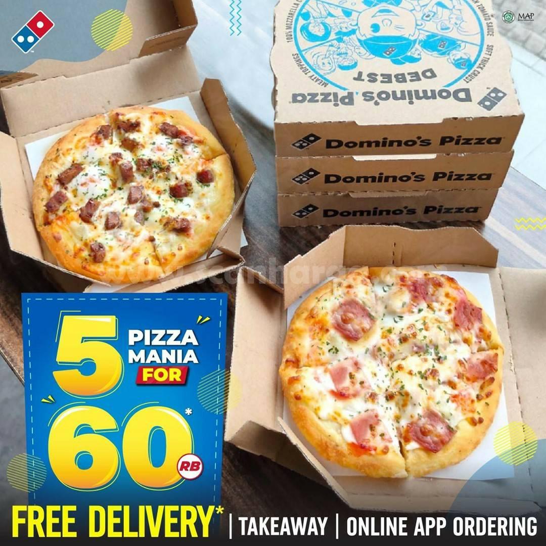 DOMINO'S PIZZA Promo BELI 5 Pizza Mania hanya Rp. 60RB