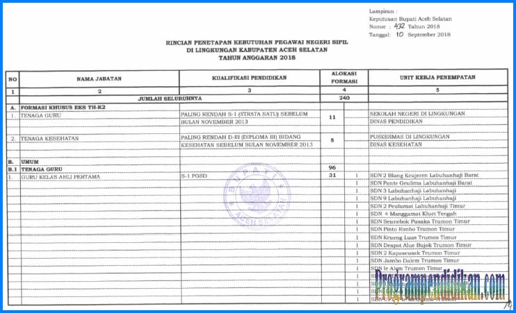 Formasi CPNS Kabupaten Aceh Selatan Tahun 2018