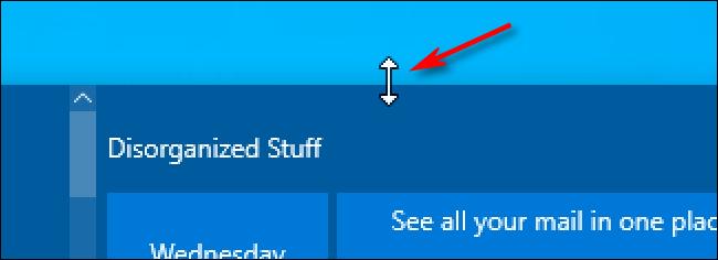 يقوم Windows 10 بتغيير حجم مؤشر الماوس فوق قائمة ابدأ