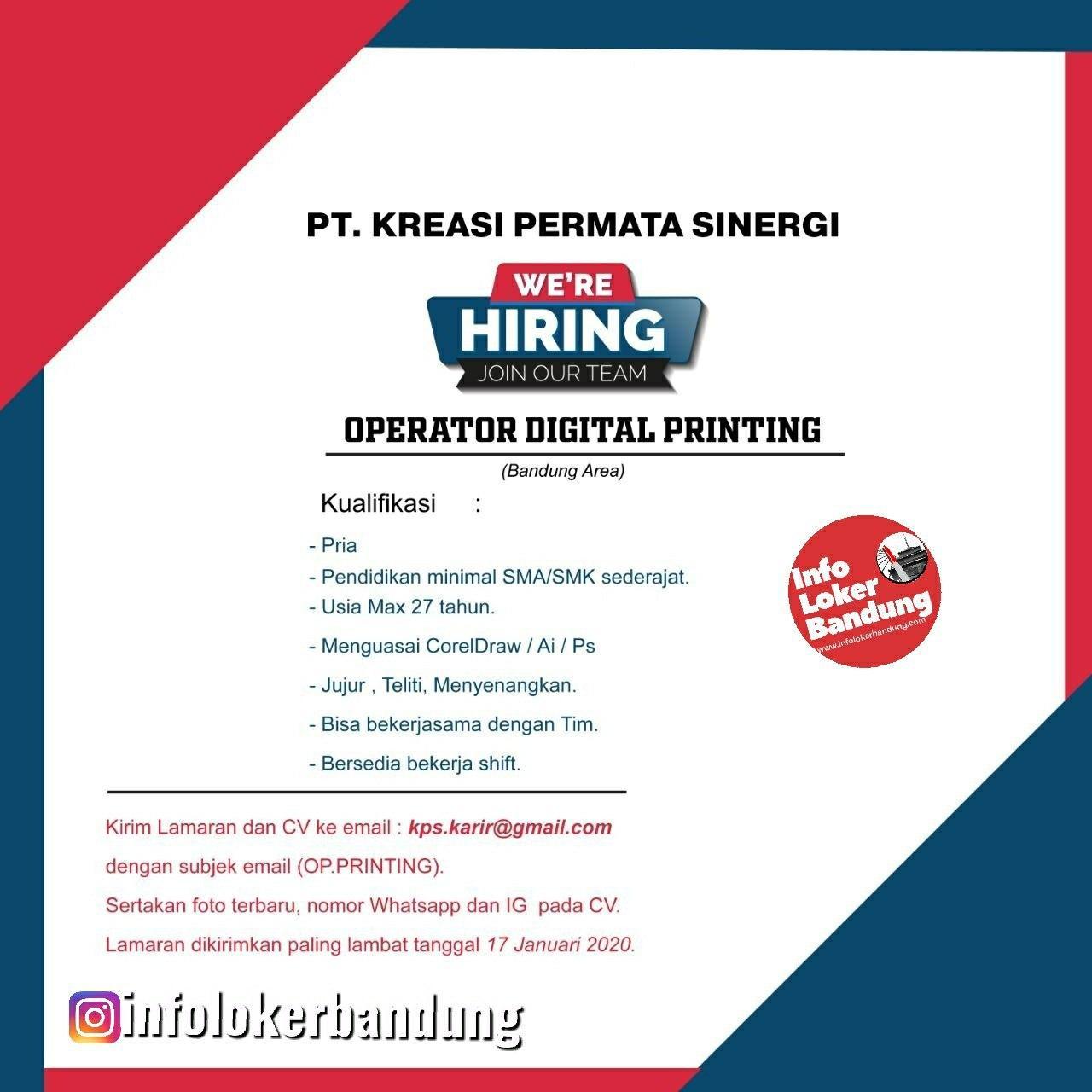 Lowongan Kerja PT. Kreasi Permata Sinergi Bandung Januari 2020