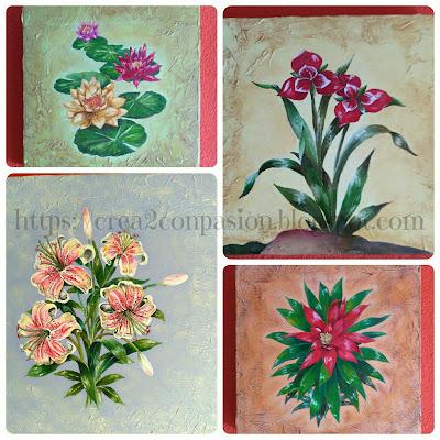 collage-cuadros-pintados-a-mano-flores-Crea2conPasión