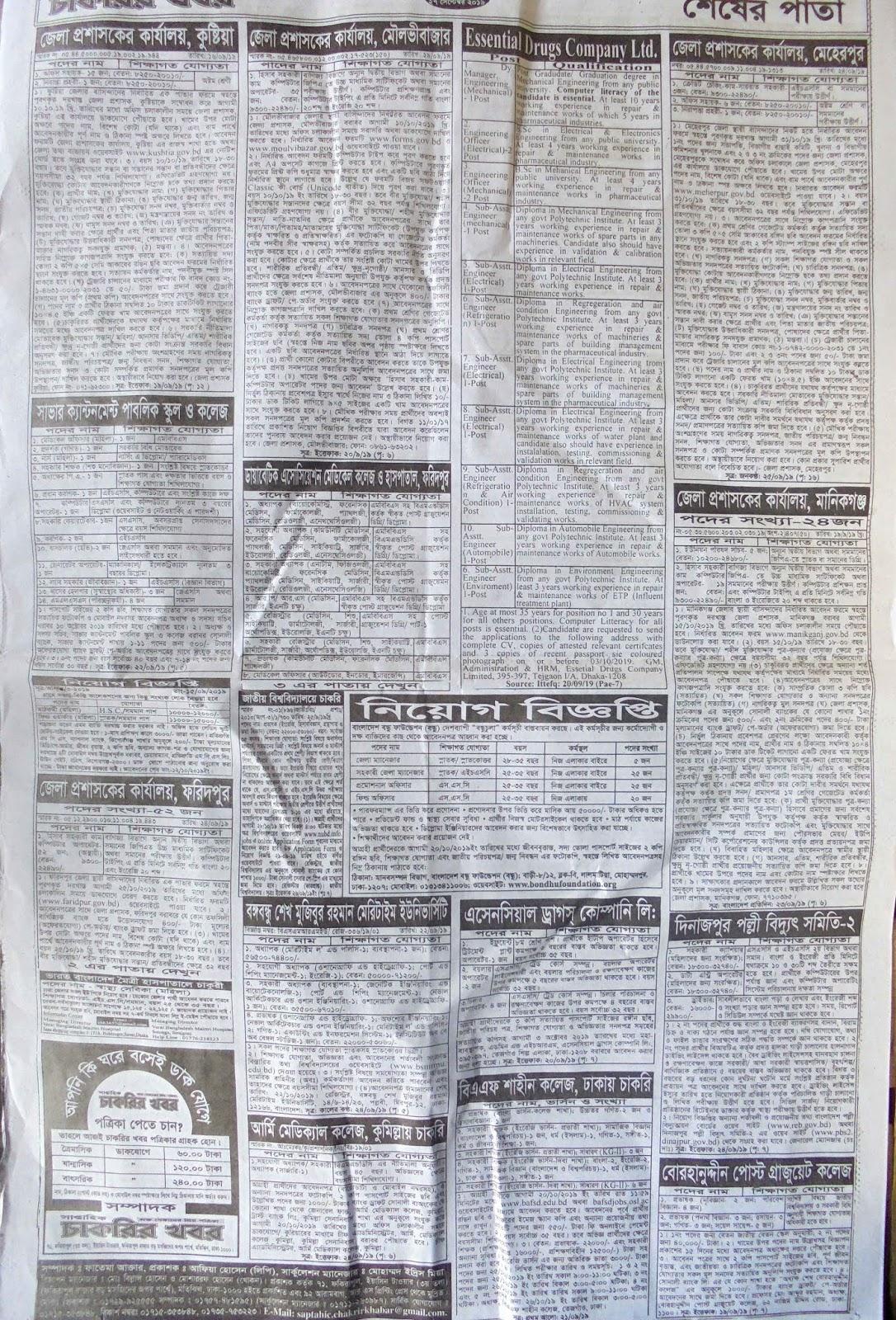 chakrir khobor, chakrir patrika, saptahik chakrir potrika, job circular , govt jobs circular