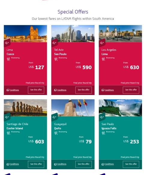 Latam Airlines Offers & Discounts On Tickets Booking,Special Promotions & Offers | LATAM Airlines - LATAM.com,Cheap flights to South America: book cheap airfare  on Latam airlines,