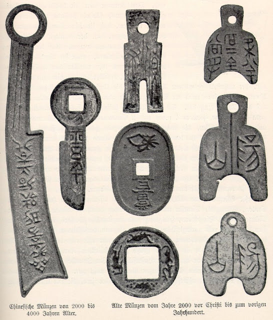 Diversos tipos de monedas chinas tempranas