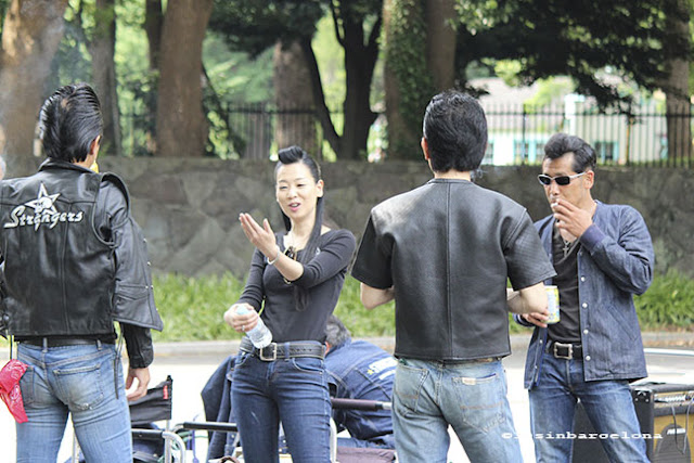A group of rockers meeting in Yoyogui's park to dance