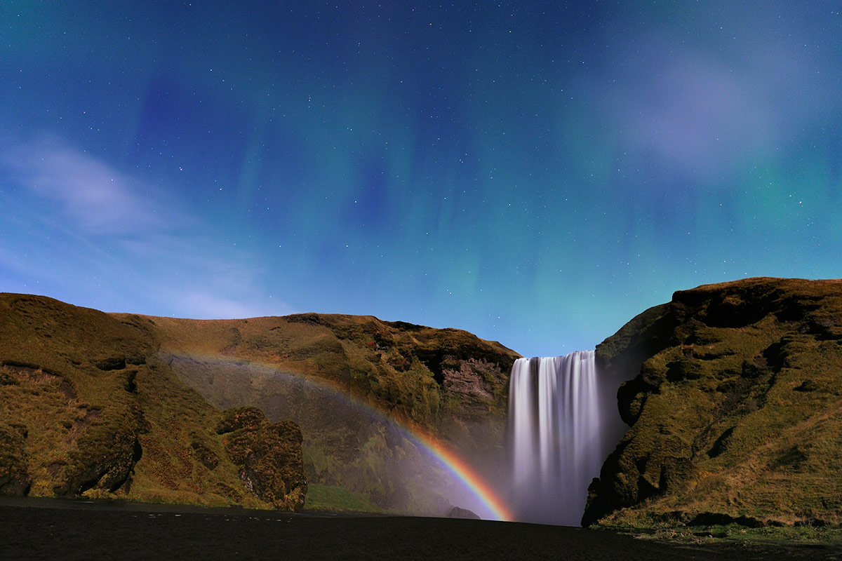 Waterfall Aurora Iceland