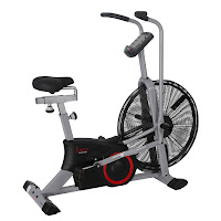 "Sunny Health & Fitness SF-B2706 Tornado Air Bike, review features compared with SF-B2640, with 25"" flywheel, chain drive system, 4-way adjustable seat, ergonomic handlebars"