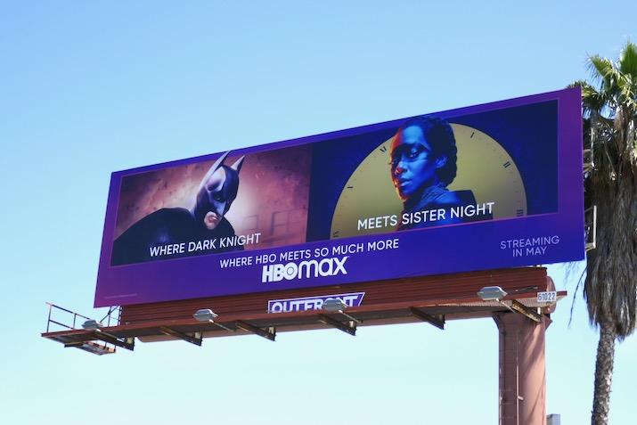 HBO Max Dark Knight meets Sister Night billboard