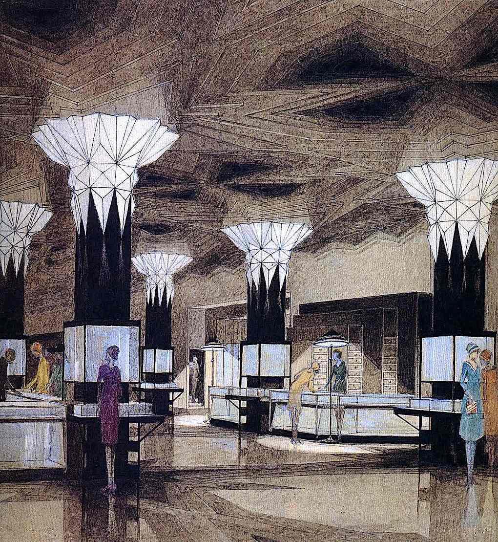 a color drawing of a 1928 Joseph Urban store interior design