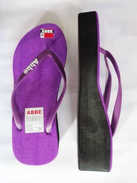 sandal jepit abbe tebal wanita ungu tampak samping