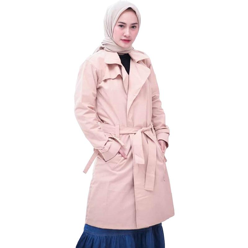 Blazer Muslimah Hijaber / Long Cardi / Jaket Jas Blazer Wanita - Cream