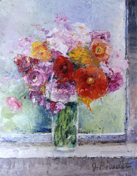palette knife painting of peonies by Jennifer Beaudet artist from California Zondervan Beaudetart