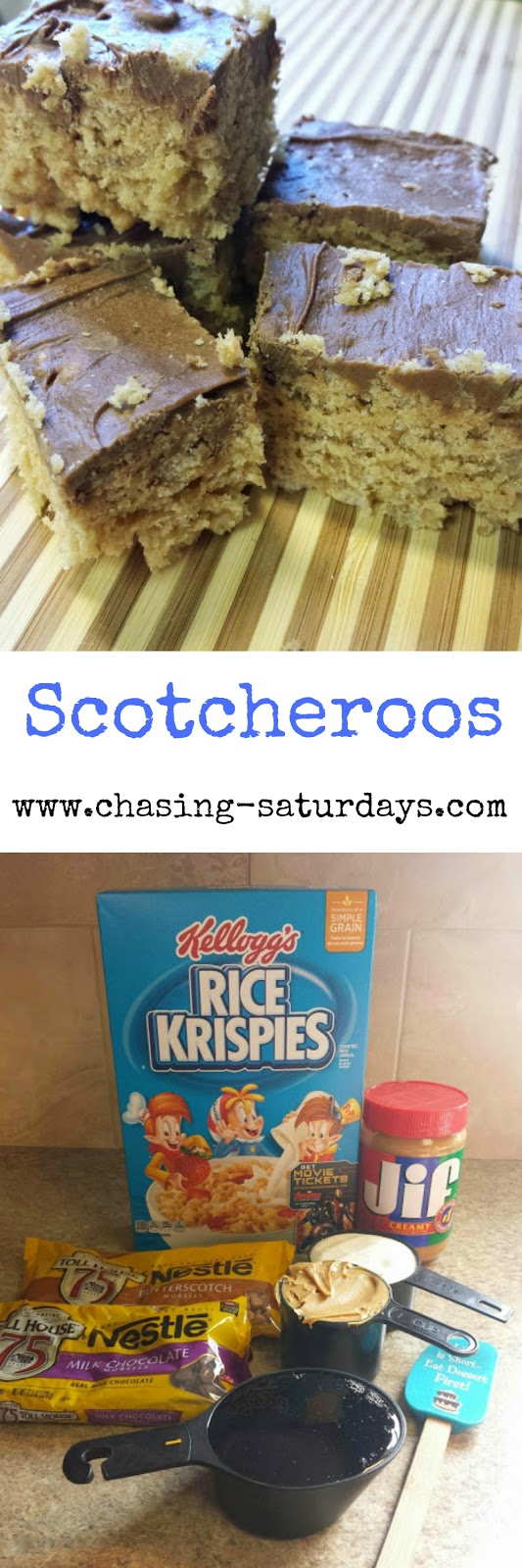 Scotcheroos is a gooey, rice krispy treat with peanut butter, chocolate, and butterscotch!  Chasing Saturday's