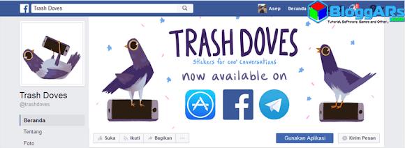 Halaman Aplikasi Facebook Stiker Merpati Tempat Sampah