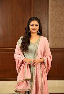 Keerthy Suresh in Pink Dress for Pandem Kodi 2 Promotions 3