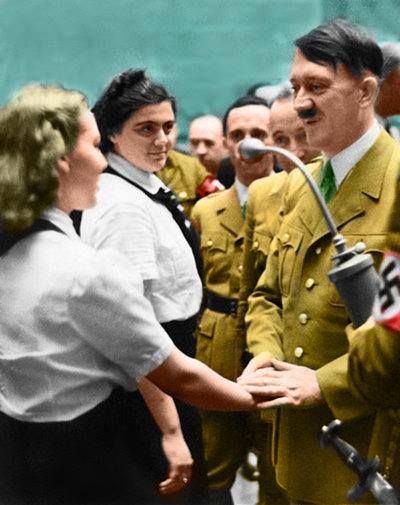 Hitler and BDM girls Color photo World war II worldwartwo.filminspector.com