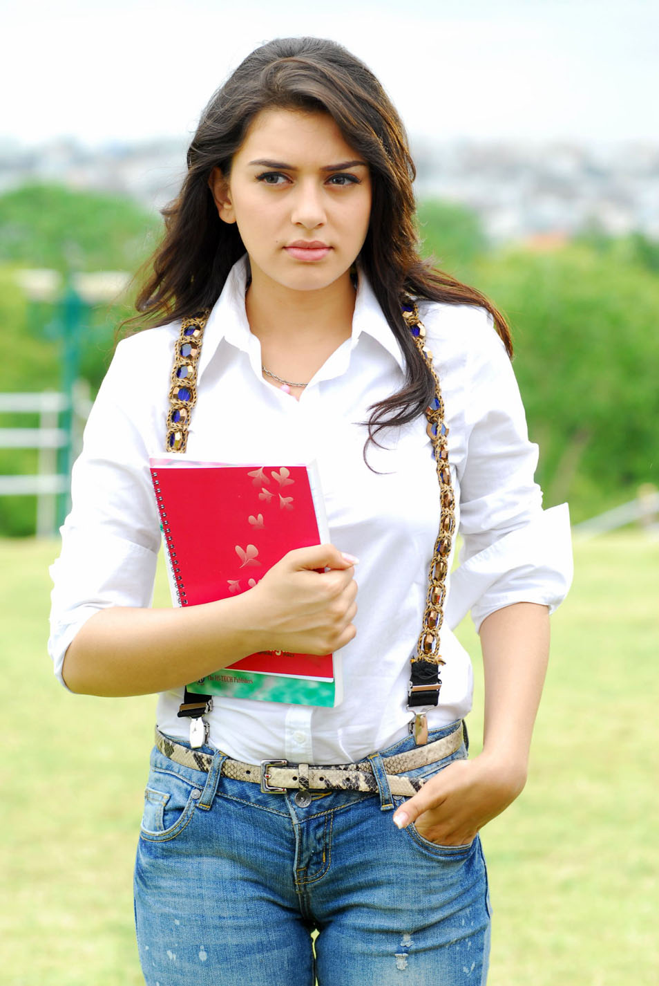 Actress Hansika Photo Shoot In White Shirt Blue Jeans