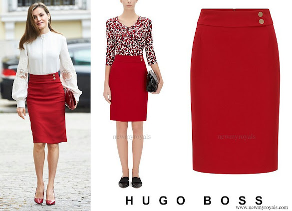 Queen Letizia wore Hugo Boss Vasela Slim fit pencil skirt