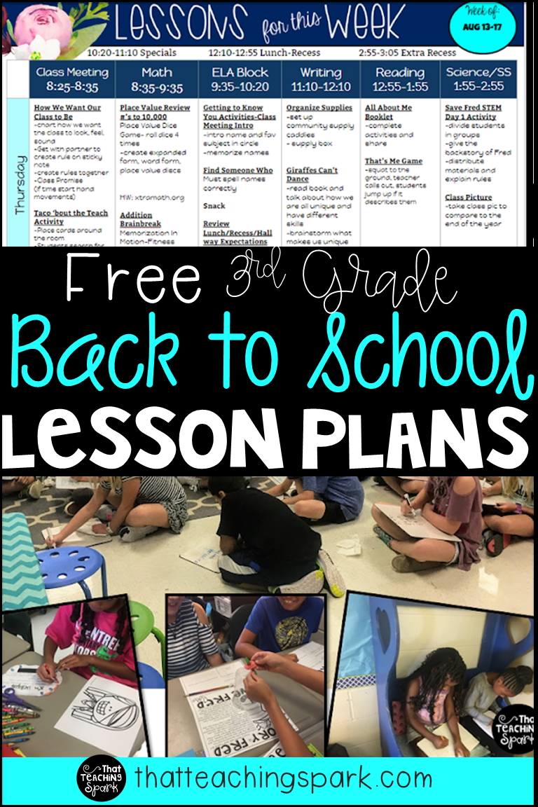 First Day Lesson Plan and Activities Back to School - That