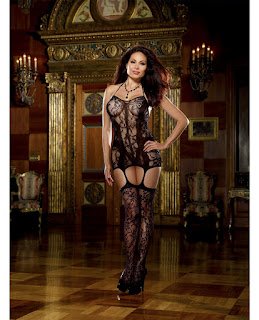 Fishnet Halter Garter Dress