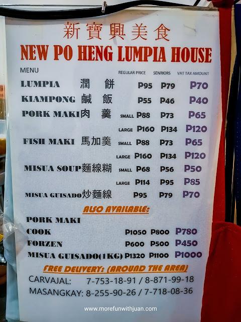 New Po Heng Lumpia House Menu