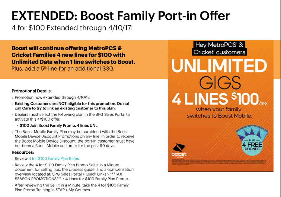 Boost Mobile 4 Lines of Unlimited Data For $100 Offer Extended to