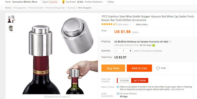 Capac vacuum pentru sticle de vin, șampanie.... cumpără capac vacuum de pe Aliexpress cu livrare în Moldova.