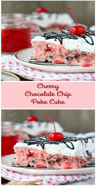 Cherry Chocolate Chip Poke Cake Recipe