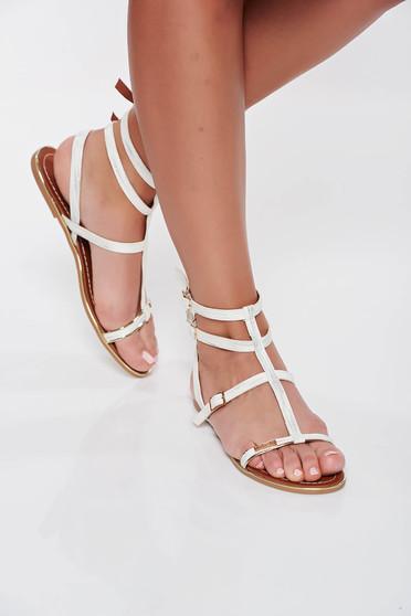 Sandale albe casual din piele ecologica cu talpa joasa si usoara