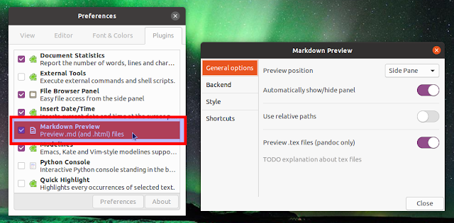 Enable Markdown preview plugin in Gedit