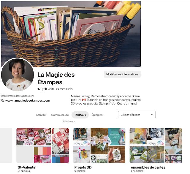 """Pinterest Marika Lemay La Magie des """"tampes Stampin' Up!"""