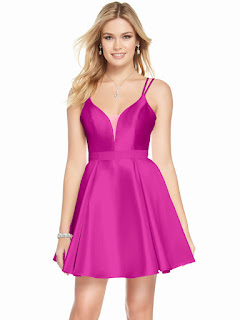 Plunging Neckline Alyce Homecoming Short Dress Rasp-berry color