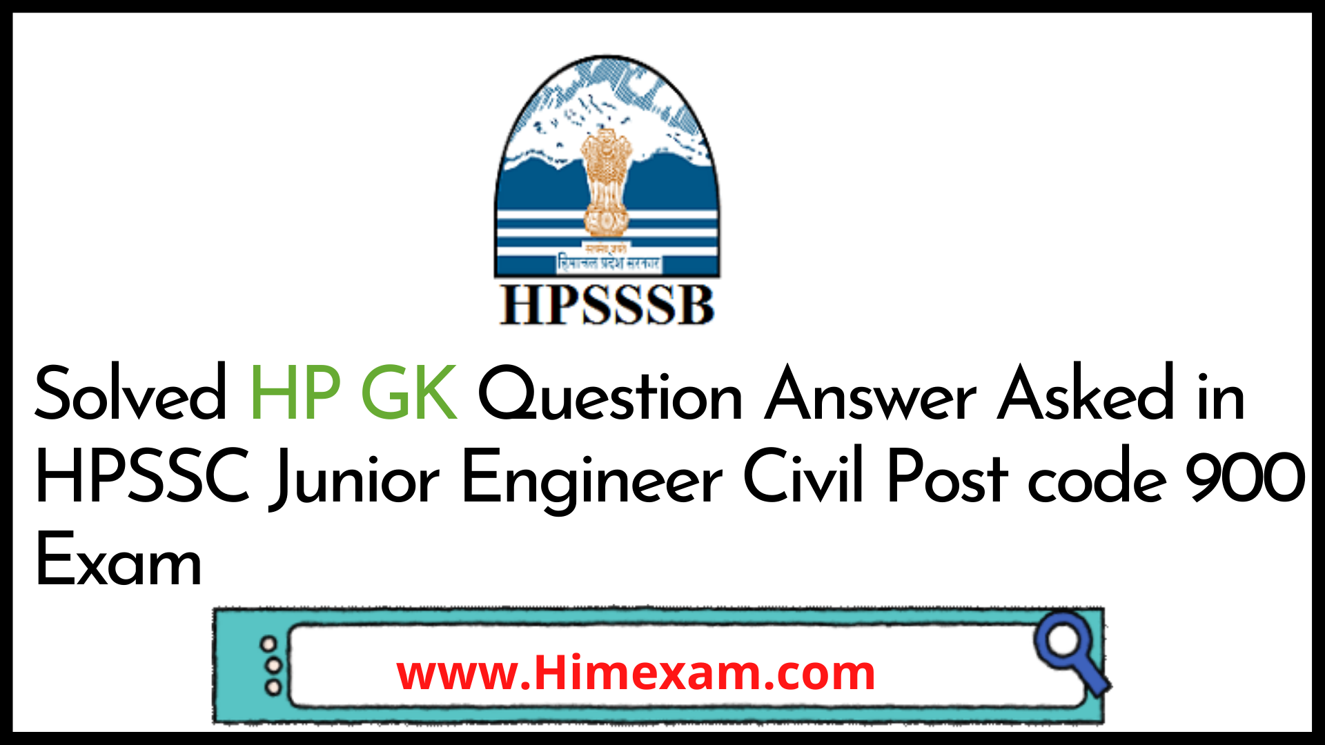 Solved HP GK Question Answer Asked in HPSSC Junior Engineer Civil Post code 900 Exam