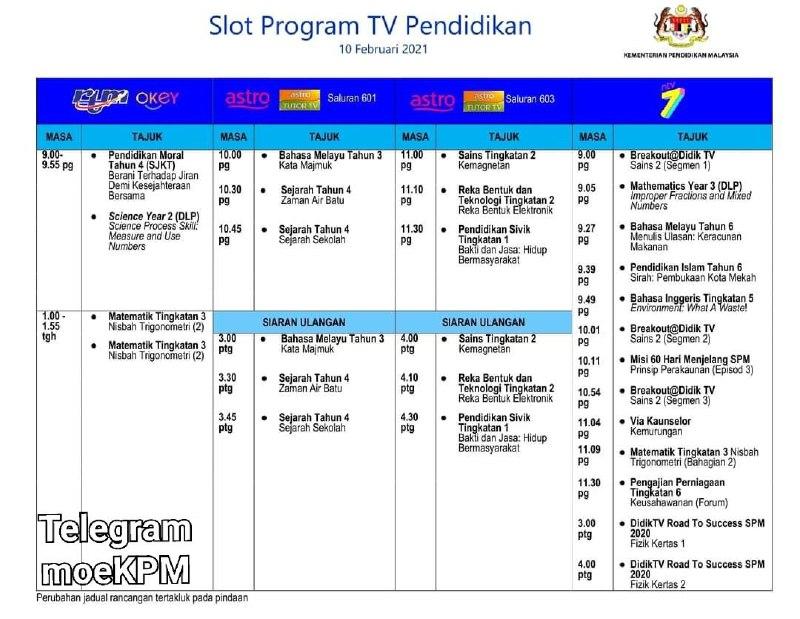 Jadual Slot Program TV Pendidikan 10 Februari 2021