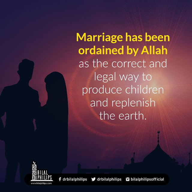 Marriage has been ordained by Allah as the correct and legal way to produce children and replenish the earth| Islamic Marriage Quotes by Ummat-e-Nabi.com