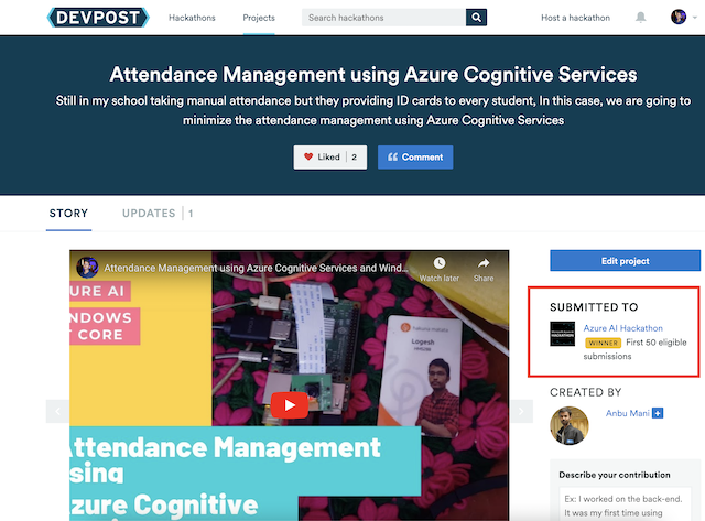 Our AI Project Got Selected One of Azure AI Hackathon Top 50 Eligible submissions