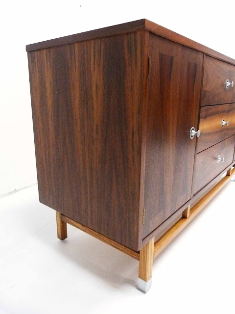 Stanley Mid-Century Walnut Rosewood Inlay Credenza Dresser Left Side