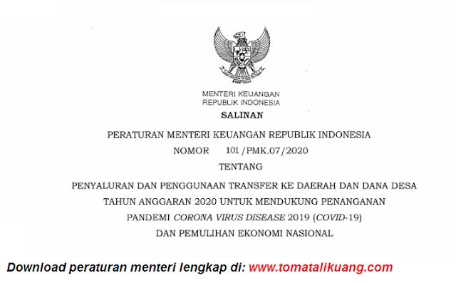 peraturan menteri keuangan pmk nomor 101/pmk.07/2020 tentang transfer ke desa dan dana desa tahun anggaran 2020 tomatalikuang.com
