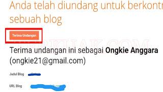 Konfirmasi undangan sebagai penulis di blog
