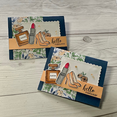 Feminine handmade greeting card with perfume, lipstick and high heel images